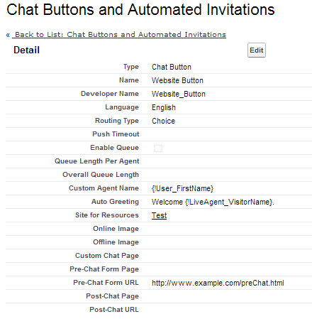 Chat Button Configuration