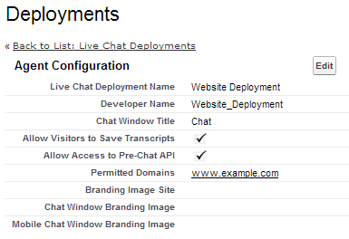 Chat Deployment Configuration